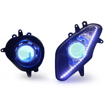 KT Motorbike Front Headlight for BMW S1000 RR 2009 2014 2010 2011 2012 2013  Hid Projector Angel Halo Eyes Blue Lightings