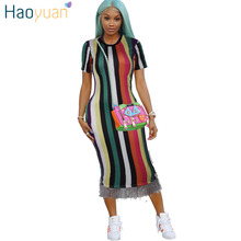 Buy HAOYUAN Summer Tassel Striped Dress Women Clothes Plus Size Sundress Casual Bodycon Dresses Elegant Robe Sexy Party Midi Dress for $15.81 in AliExpress store