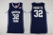 Jimmer Fredette #32 Brigham Young Blue/White Retro Throwback Stitched Basketball Jersey Sewn Camisa Embroidery Logos