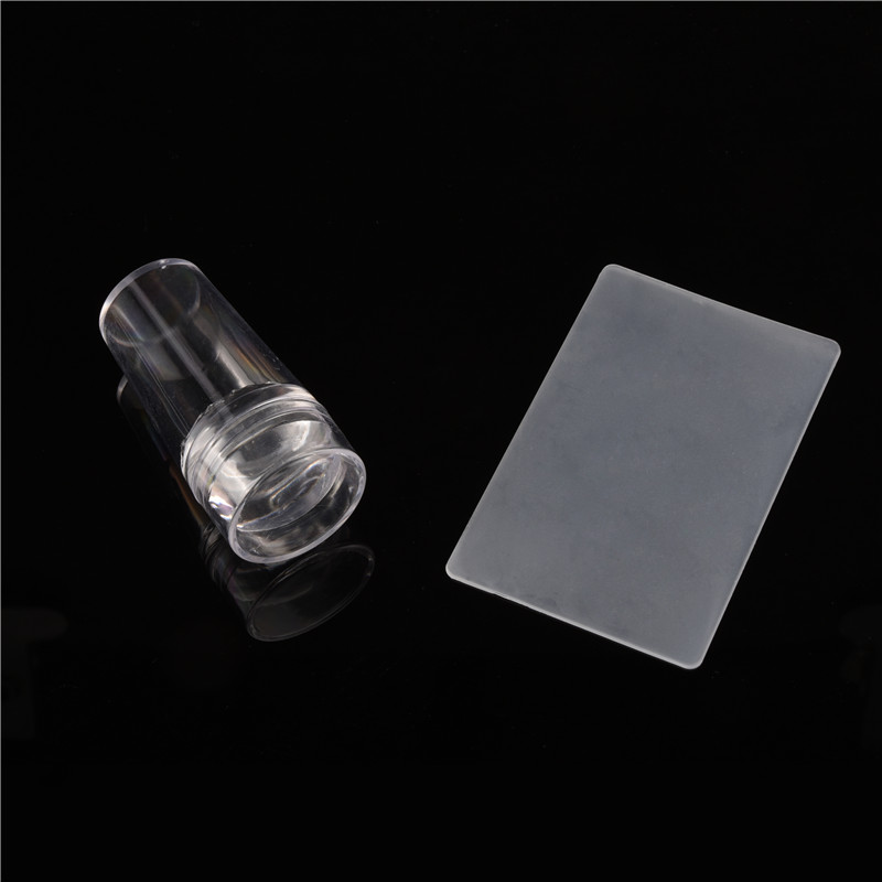 Nailwind Nail Art Stamping Stamper Scraper Plate with Cap Polish Transfer Pure Clear Silicone Stamping Manicure Tool(China (Mainland))