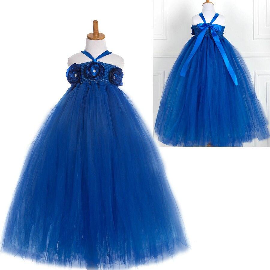 Fashion high quality handmade halter neck robe de mariage enfant fille bleu royal children bridal dress<br><br>Aliexpress
