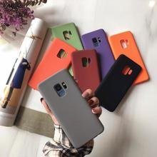 PKR 262.06  26%OFF | Matte Pure Color Purple Couple Cover Phone Cases For Samsung Galaxy S10 S9 S8 Plus S7 S6 Edge Note 8 9 Soft TPU Sandstone Funda