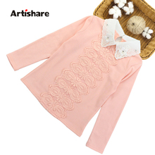 Artishare Kids Girls T-shirts Cute Turn Down Collar Long Shirts Teenage Spring Autumn Kids Clothing Tops For Girls 3-12 Years