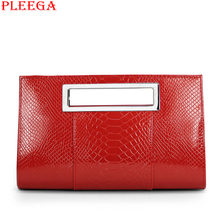 PLEEGA New 2016 Fashion Women Dinner Handbags Luxury Designers Temperament Female Serpentine Shoulder Bag PU Leather Red Totes