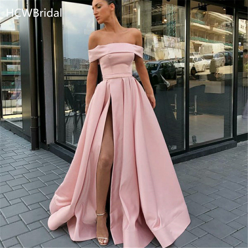 New 2019 Pink Long Dress Evening Off The Shoulder High Split Boat Neck Elegant Satin Prom Gown Custom Made Formal Occasion Dress