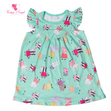 Kaiya Angel Baby Girls Dress Cute Summer Pig Print Dress For Girls Vintage Toddler Girl Clothing Children Clothes 1-8T Wholsale(China)