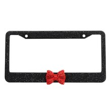 Black Bling Glitter Crystal RhineStone License Plate Frame Car Auto Red Bow
