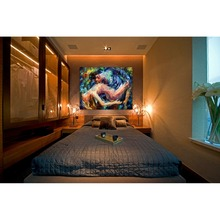 Sexy Lover Nude Painting Palette Knife Oil Picture Canvas Print Modern Wall Art For Home Bedroom Hotel Wall Decor