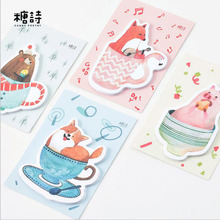4pcs/Lot Story in the cup Animal  memo pad Bear fox pig dog sticky note post it Stationery Office School supplies GT384