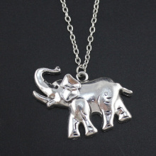 "2017 Fashion Simple Antique Silver Tone 1.3""X1.4"" Elephant Pendant Necklace Women Men's Jewelry Short Chain Necklace DY61"