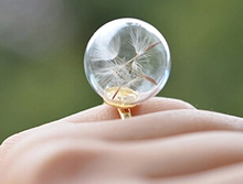 1pc 16MM Glass Bubble Dandelion Ring,Glass Globe Bottle Rings,glass ball rings