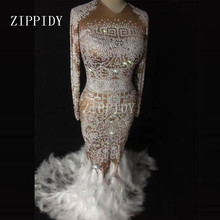 Sparkly Rhinestones Feather Nude Dress Sexy Nightclub Full Stones Long Big Tail Dress Costume Prom Birthday Celebrate Dresses(China)