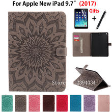 Buy Fashion Tablet case Folding Flip PU leather Cover Apple New iPad 9.7 2017 Cases A1822 A1823 Funda Skin Shell +Film +Pen for $11.55 in AliExpress store