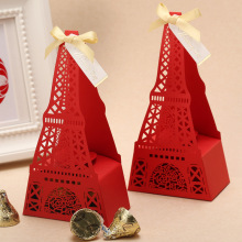 Free shipping red gold Eiffel Tower brand quality wedding favor box candy box with ribbon supplies 50pcs/lot