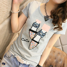 2017 Hot Summer New Arrival Short Sleeve T Shirt Korean Version Casual Diamonds T Shirts Female Slim Fit Fashion T-shirt  62219