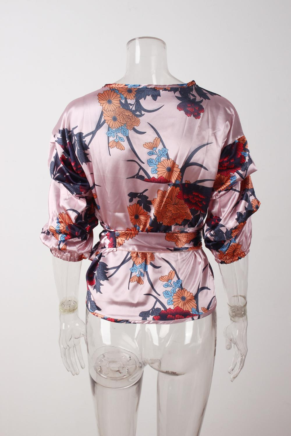 LOSSKY Women V-Neck Sexy Boho Blouse Print Floral Bandages Long Sleeve Blouse Bohemia Ladies Top Shirts Blouses Summer 2018 18