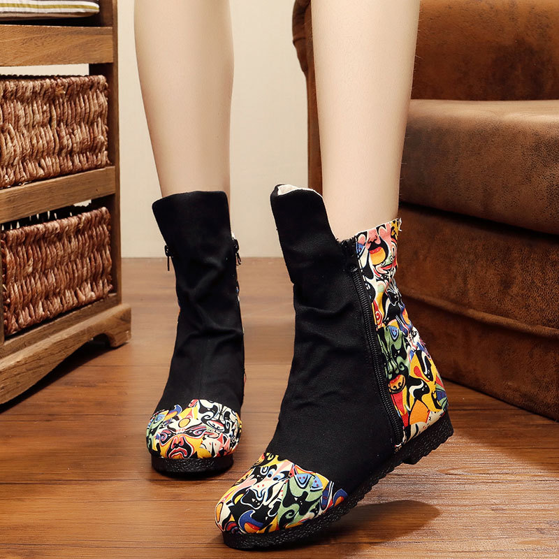 TThe new 2017 old Beijing single facebook mirror flower fashion soft bottom boots wedges review color female short boots<br><br>Aliexpress