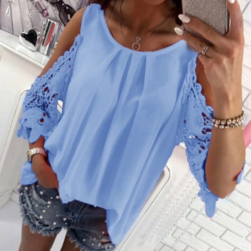 Women Summer Chiffon Blouses 18 New Casual Sexy Sun-top Blusas Half Sleeve Lace Patchwork Shirts Off Shoulder Tops Solid GV381 6