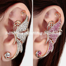 1PC Hot Pink or Clear Rhinestone Crystal Gold Tone Half Butterfly Fashion Women Lady Ear Cuff Clip Cartilage Ear Wrap Earring