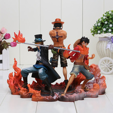 3pcs/set Anime One Piece DXF Luffy Ace Sabo PVC Action Figures Collectible Model Toys(China)