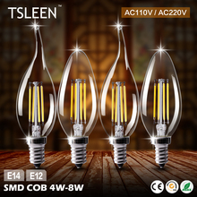 Buy Wholesale 10X Light E14 220V 110V 4W 8W C35 C35L Retro Antique LED Filament Candle Vintage Style Edison Bulb Candle Flame for $19.39 in AliExpress store