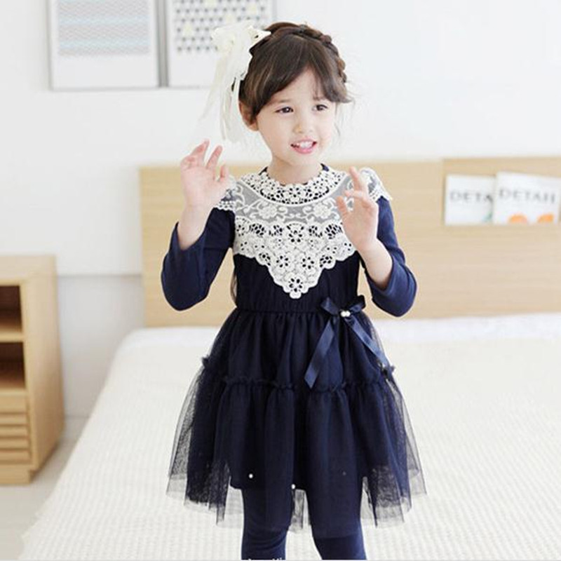 New Brand 2016 Korean Children Clothing Girl Dresses Long Sleeve Lace Embroidery Pink/Navy Party Dress Kids Veil Bow Dress 2-8Y<br><br>Aliexpress