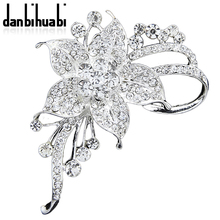 New Fashion Pins Brooches jewelry white Flowers Crystal Rhinestone Brooch For Women Wedding Dress Low Price party gifts