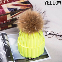 New Fur Raccoon Fur Pompon Winter Women Warm Knit Hat Cap Crochet Skullies Beanie With Big Ball Solid Thick Cap(China)