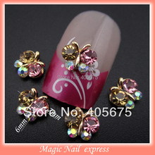 10pcs mix rhinestones butterfly for nails 3 designs glitter crystal nail art decorations 3d alloy nailart tools supplies MNS269(China)