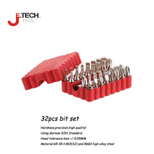"Jetech 32 pcs 25mm 1/4"" wood wall torque precision screwdriver square torx bit set handheld driver trimmer kit with adapter tool"