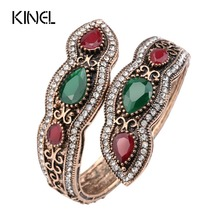 Kinel Turkish Jewelry Big Bangles Bracelets Sculpture Retro Gold Color Full Crystal Cuff Bracelets Hand Accessories 2017 New(China)