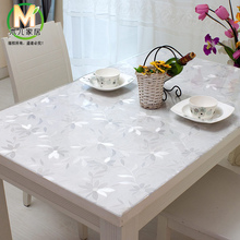 Wood soft glass table cloth transparent dining table cloth waterproof disposable tablecloth table mat scrub pvc Roundtable table(China)