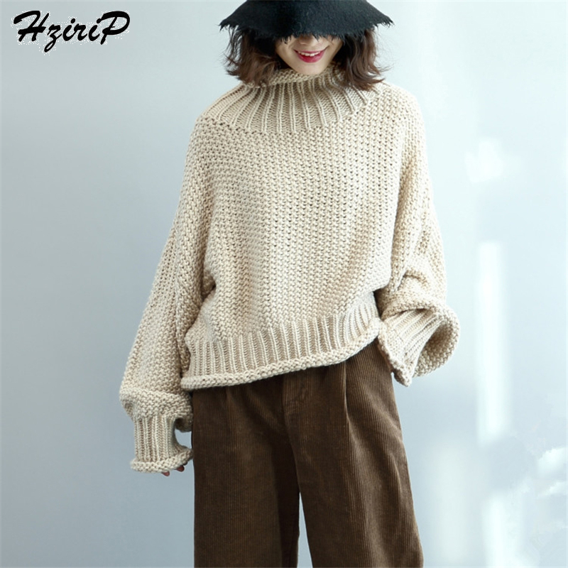 HziriP New Women Sweaters And Pullovers Long Lantern Sleeve Knitted Crimping Female Autumn Winter Turtleneck Warm Sueter Mujer