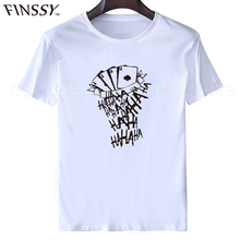 Suicide Squad T Shirt Men Short Sleeve Funny Joker Tattoo HAHA Print Tee Shirt For Male Harajuku Cool Tshirt Homme XXXL
