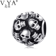 New Fashion DIY Accessories High Quality Big Hole Skull Bead fit for Pandora Vintage Style Skeleton Beads for Chain TZ35