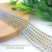 Hot selling! Shiny crystal rhinestone top quality 10yards/lot 2mm  Light Blue sprase rhinestone cup chain