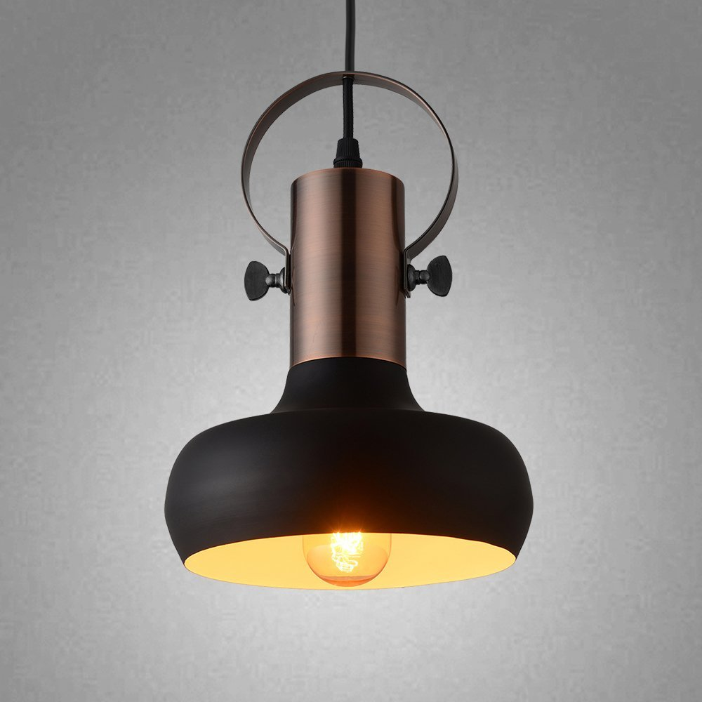 Industrial  Black 1- Light Small Ceiling Light for Kitchen Living Room Restaurant<br>
