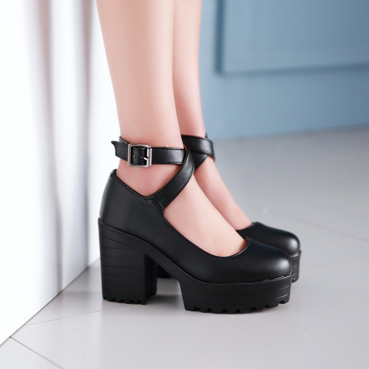 Cross Strappy Women Thick High Heel Shoes With Platform New 2017 PU Leather Ankle Buckle Lolita High Heels Free Shipping<br>