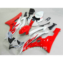 ABS full fairing kit fit for yamaha r6 injection molding 2006 2007 red black white plastic fairings set YZF R6 06 07 PS-37(China)