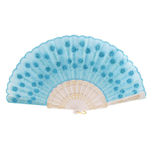 SZS Hot Plastic Rib Sequins Adorn Foldable Dancing Hand Fan sky blue,White(China)
