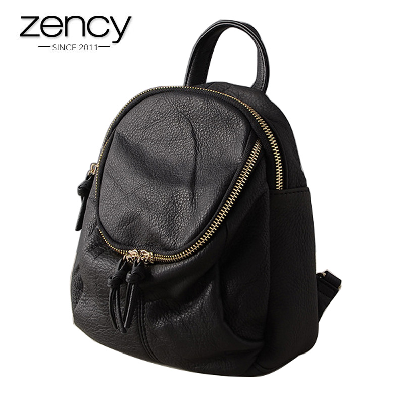 Top Quality Cowhide Leather Backpack for female Womens Fashion Vintage Daily Brands Bags Girls Preppy Schoolbag Ipad Mini Hold<br>