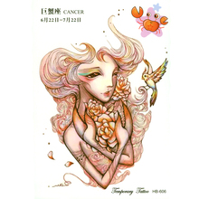 3pcs Cancer Zodiac Tattoo Sticker Waterproof Henna Tatoo Wall Sticker Child Temporary Tattoo Body Art Flash Tattoo Stickers(China)