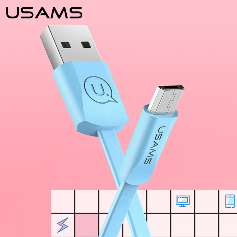USAMS Micro USB cable Samsung Huawei Xiaomi Data Sync Flat USB Cable Android phone Micro usb port 2A charger cables