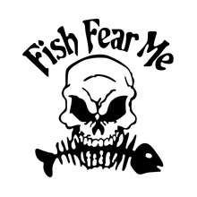 Fish Fear Me Car stickers 14cm*13cm Car Decals Car-Styling For Bmw Benz Toyota VW audi ford Motorcycle accessories