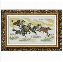Embroidery Package Luxurious 8 Running Steed Courser Horse Animal Cross Stitch Kits Classical Free Shipping