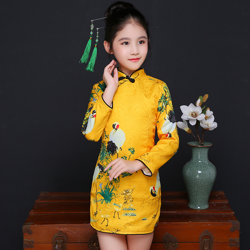 2017 winter girls dress costume long sleeve baby dresses vestidos party qipao children clothing flower crane kids clothes<br>