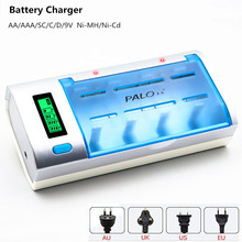 4 Slots Battery Charger AA/AAA/SC/C/D Ni-MH/Ni-Cd 9V Li-ion Rechargeable Battery Charger With LCD dispaly Multi Usage Charger