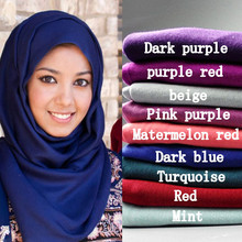 30 color High quality jersey scarf cotton plain elasticity shawls maxi hijab long muslim head wrap long scarves(China)