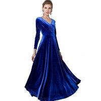 Elegant Women Wine wedding Flared Dresses Velvet Warm Dress Ladies Plus size  Winter Ankle Length Maxi 5c627ebc8818