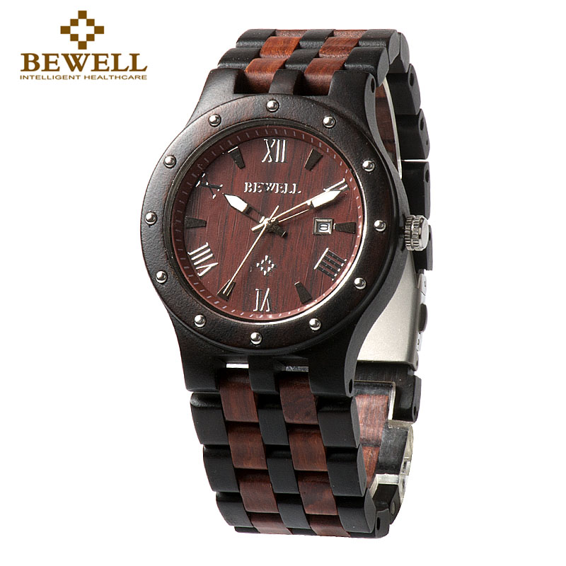 BEWELL Black And Red Wood Watch Men Roud Case Analog Dial Display Japan Movement Luxury Quartz Wristwatches With Calendar 109A<br>